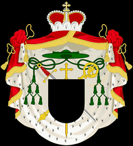 Arms of a Prince-Bishop with components from both princely and ecclesiastical heraldry.