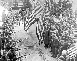Labour union demonstrators at the 1912 Lawrence textile strike
