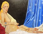 Angélique Bègue, Odalisque with a yellow turban, tempera on wood, 2014