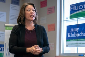 Angie Craig at a campaign event in Apple Valley, Minnesota