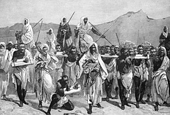 A 19th-century engraving of an Arab slave-trading caravan transporting black African slaves across the Sahara