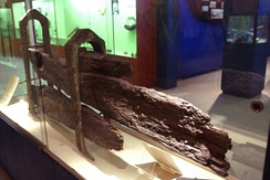 Parts of Bounty's rudder, recovered from Pitcairn Island and preserved in a Fiji museum
