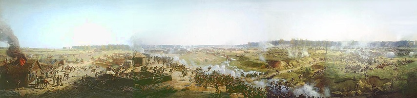 Fragment of the panorama of the Battle of Borodino by Franz Roubaud (1912)