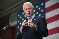 Bill Clinton campaigning for his wife in March 2016