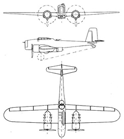 Breguet 460 3-view drawing from L'Aerophile March 1936