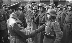 9 March 1945: Goebbels awards 16-year-old Hitler Youth Willi Hübner the Iron Cross for the defence of Lauban