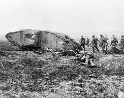 Soldiers of the 2nd Canadian Division advance behind a Mark II female tank during the Battle of Vimy Ridge