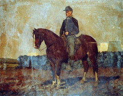 Cavalry orderly, Rappahannock Station, Va., painting by Edwin Forbes