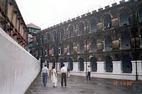 A wing of the Cellular Jail, Port Blair; showing the central tower where many revolutionaries for Indian independence were held imprisoned.