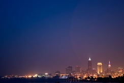 Cleveland as viewed from Edgewater Park on 4 July 2010
