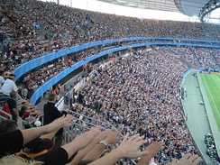 "Stadium crowd performing ""the wave"" at the Confederations Cup 2005 in Frankfurt"
