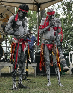 Didgeridoo and clapstick players performing at Nightcliff, Northern Territory