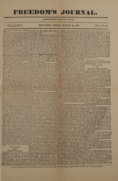 An issue of Freedom's Journal