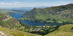 The village of Glenridding and Ullswater lake