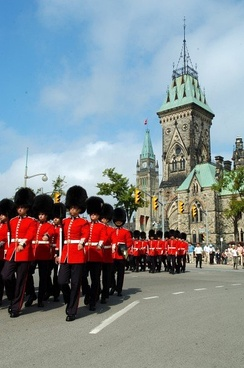 Members of the Canadian Grenadier Guard on parade in Ottawa. The city granted its Freedom to the regiment in 1979.
