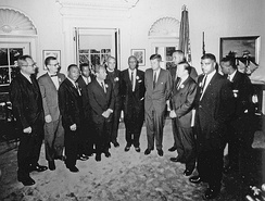 Civil rights leaders meet with President John F. Kennedy in the Oval Office of the White House after the March on Washington, D.C.. Left to Right – Willard Wirtz, Matthew Ahmann, Martin Luther King, Jr, John Lewis, Rabbi Joachin Prinz, Eugene Carson Blake, A. Philip Randolph, President John F. Kennedy, Vice President Lyndon Johnson, Walter Reuther, Whitney Young, Floyd McKissick. Not in order: Roy Wilkins. August 28, 1963