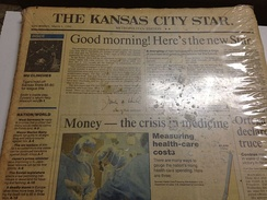 First morning edition of the Kansas City Star on March 1, 1990 that came in a special package including the last edition of the Kansas City Times and the last afternoon edition of the Star.