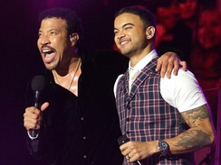 "Lionel Richie and Sebastian performing ""All Night Long"""