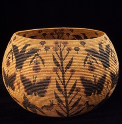 A basket woven by Miwok-Mono Paiute Native American artist Lucy Telles from the Yosemite Valley region