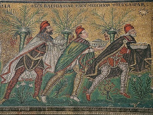 The Three Magi, Byzantine mosaic c. 565, Basilica of Sant'Apollinare Nuovo, Ravenna, Italy (restored during the 18th century). As here Byzantine art usually depicts the Magi in Persian clothing which includes breeches, capes, and Phrygian caps.