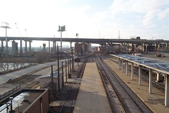 Rail tracks along the industrial Menomonee Valley, ancestral home of the Menominee Indians
