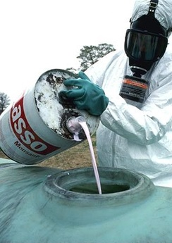 Preparation for an application of hazardous herbicide in USA.