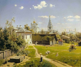 Polenov's celebrated painting of a traditional Russian courtyard (1878)