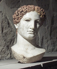 Marble head of a Roman woman on display at the Museum of Anatolian Civilizations, Ankara.