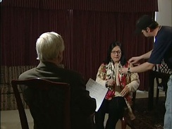 Nana Mouskouri, waiting for an interview in 2006