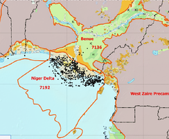 Geologic map of the Niger Delta Basin and the Benue trough, and the oil fields in the region.