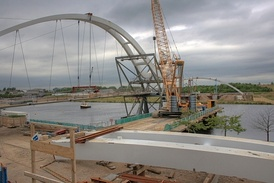 South bank of North Shore Footbridge during construction