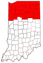 Highlighted are the counties in Northern Indiana.