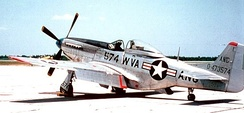 West Virginia ANG F-51D Mustang.  The 167th Fighter Squadron (167th FS) flew the F-51 from 1948 to 1957.  The West Virginia ANG was the last Air National Guard unit to be equipped with the Mustang in squadron service.  The last F-51 (44-72948) was retired to serve as a museum piece at Wright-Patterson Air Force Base on January 27th, 1957.