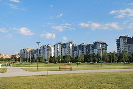 The newly developed neighbourhood of Novo Lisiče, in Aerodrom.