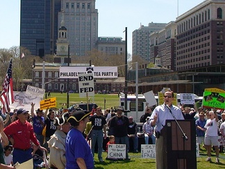 U.S. Senate candidate Pat Toomey addresses the Philadelphia Tea Party on April 18, 2009.