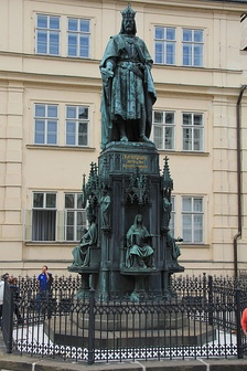 Monument to the protector of the university, Emperor Charles IV, in Prague (built in 1848)