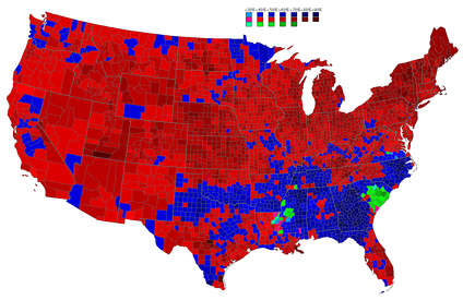 Results by county explicitly indicating the percentage for the winning candidate. Shades of red are for Eisenhower (Republican), shades of blue are for Stevenson (Democratic), and shades of green are for Unpledged Electors/Andrews (Independent/States' Rights).