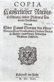 1623 edict by Ferdinand II, Holy Roman Emperor (1578–1637) awarding Frederick's lands and titles to Maximilian I, Elector of Bavaria (1573–1651).