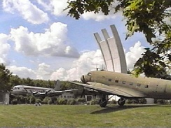 Memorial to Berlin Airlift at the former Rhein-Main Air Base, showing a C-47 and C-54, taken 1975.