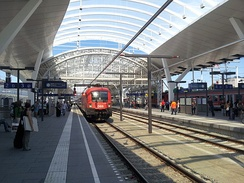 Salzburg Hauptbahnhof, a junction between local and long-distance transport routes