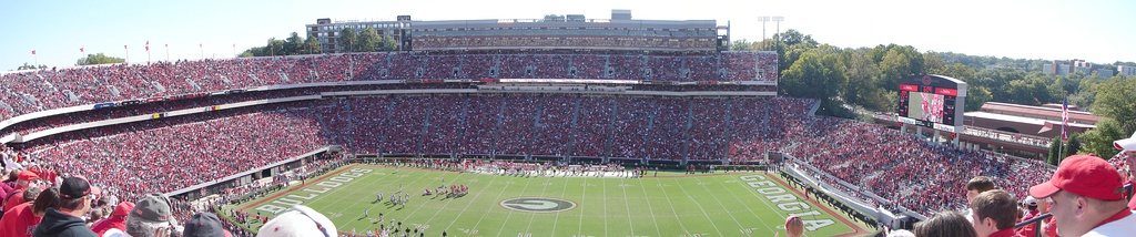 A panoramic view from Sanford's upper North Deck during the October 14, 2006 home game against the Vanderbilt Commodores (picture does not show newly constructed additions from 2009 to Tate Student Center)