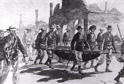 Admiral Seymour returning to Tianjin with his wounded men on 26 June