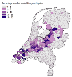 Areas where the Dutch Christian right Reformed Political Party (SGP) received a significant number of votes in 2010, largely co-extensive with the Dutch Bible Belt.