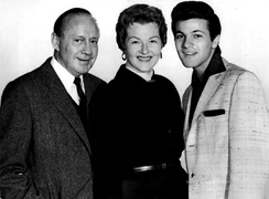 Photo of Jo Stafford from Shower of Stars where she appeared as Darlene Edwards; also pictured are Jack Benny and singer Tommy Sands