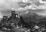 Развалины древней христианской церкви на вершине горы Синай. На заднем плане гора Святой Екатерины. Рисунок 1837 года.