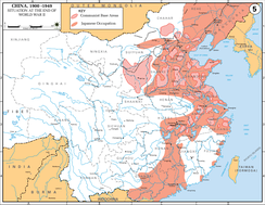 Japanese occupation (red) of eastern China near the end of the war, and Communist bases (striped)