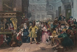 The financial crisis caused by the South Sea Bubble led to the presentation of the government budget under Sir Robert Walpole. Painting by Edward Matthew Ward.