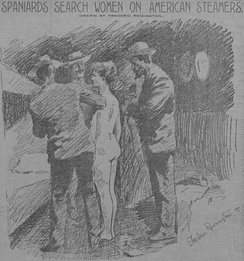 "Male Spanish officials strip search an American woman tourist in Cuba looking for messages from rebels; front page ""yellow journalism"" from Hearst (Artist: Frederic Remington)"
