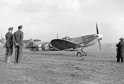 A Supermarine Spitfire Mk IXb of No. 306 Polish Fighter Squadron at RAF Northolt in 1943.