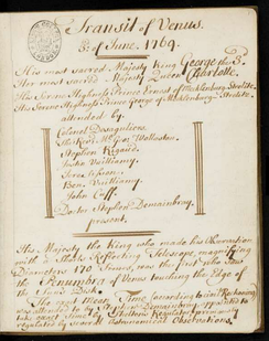 Extract from Observations on the Transit of Venus, a manuscript notebook from the collections of George III, showing George, Charlotte and those attending them.